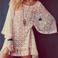 Boho Sleeve Fringe Lace Mini Dress
