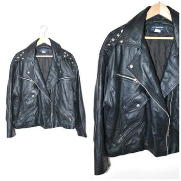 studded leather MOTO jacket vintage 80s 90s ROCKER chic black slouchy MOTORCYCLE jacket