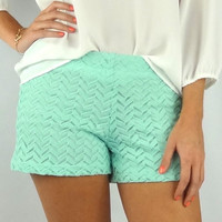 Chevron Crochet Shorts - Mint | .H.C.B.