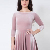 Stretch Velvet Skater Dress | American Apparel