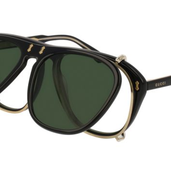 Gucci - GG0128S-005 Black Sunglasses / Green  Lenses