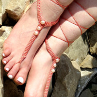 BAREFOOT SANDALS, Coral sandles with pearls, Nude Summer Shoes, Beach Lace Up Foot Jewelry, Gothic Bohemian Sandals, Bridesmaids sandals