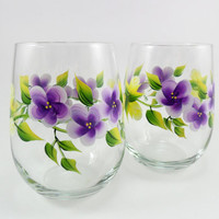Hand Painted Stemless Wine Glasses Yellow Roses Purple Flowers Set of 2