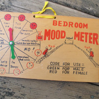 Bedroom mood meter / Wooden kitschy bedroom sign / Vintage sex mood meter / Austin Powers Mood meter