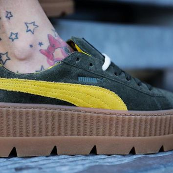 "Rihanna x Puma Fenty Suede Cleated Creeper ""Green Yellow""366267-01"