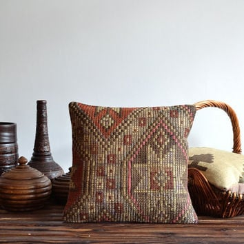 Handwoven Traditional Turkish Kilim Pillow Cover, Tribal Pillow, Vintage Kilim Pillow, Ottoman Pillow