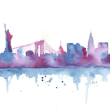 Original Watercolor Painting - New York City Skyline Silhouette