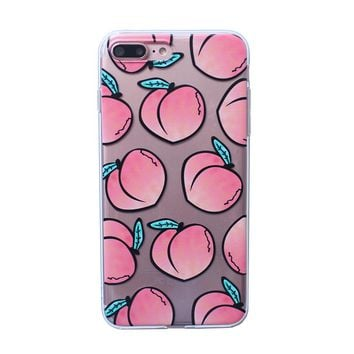 Summer Fruits Peach TPU phone Cases For iphone 7 7Plus for iphone 6 6s 6plus 6splus Clear tpu phone back cover