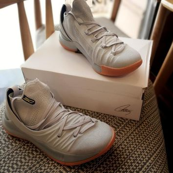 Under Armour UA Curry 5 Gray Raw Basketball Shoe