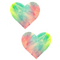 Black Light Pastel Tie Dye Heart Pasties