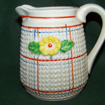 Vintage Creamer/Pitcher...Mid Century...Country Farmhouse...Raised Flower Design...Cottage Chic...Decorative