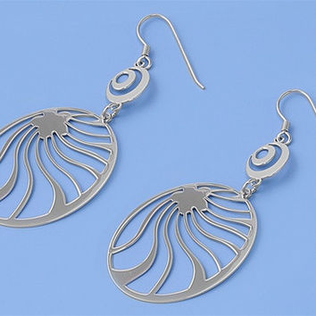 Sterling Silver Round Rising Star Design Dangle Earrings