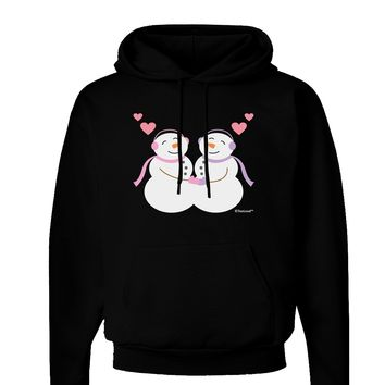 Cute Snowwoman Couple Dark Hoodie Sweatshirt by TooLoud