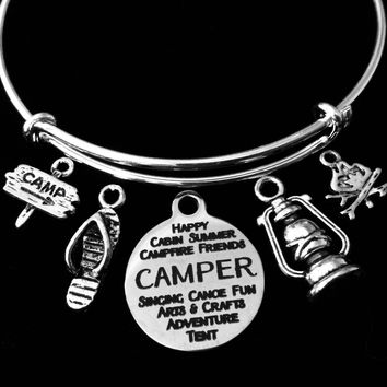 Happy Camper Love Camping Jewelry Adjustable Bracelet Expandable Silver Charm Bangle Lantern Camp Fire