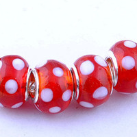 Beautiful Red Murano Glass Bead with white polka dots - Fits Pandora Bracelet and all other European Bracelets