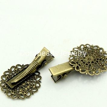 Doreen Box hot-  Hair Clips Bobby Pins Flower Antique Bronze Hollow 4x2.5cm,20PCs (B22547)