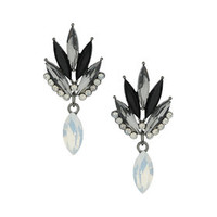 Navette Stone Drop Earrings - Black
