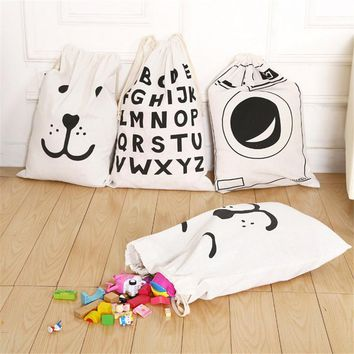 Cartoon Baby Toys Storage Bags with Drawstring Canvas Home Organzier for Kids Laundry Clothes Cute Beer Alphabet Print Pocket