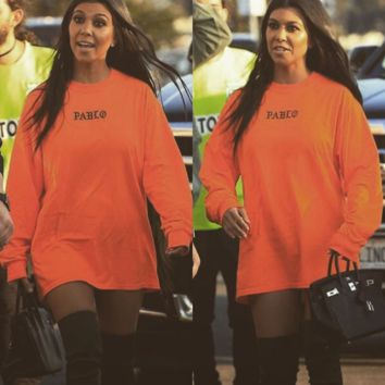 Orange letters printed sweater
