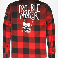 Neff X The Simpsons Trouble Maker Mens Flannel Shirt Red  In Sizes