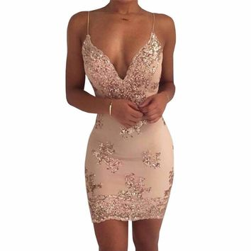 Wickedly Alluring Shimmer Lace Overlay Mini Dress
