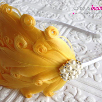 Adult Headband Flapper Girl Style 1920s in Canary Yellow with Pearl Sparkle Embellishment