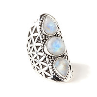 Flower of Life Ring | Silver / Moonstone – Adorn By Sarah Lewis