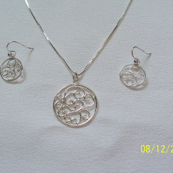Sterling Silver Filigree Jewelry Set