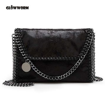 2017 New Women Message Bag Pu Fashion Portable 2 Chains Bag Woven Shoulder bag bolsa feminina carteras mujer stella handbags