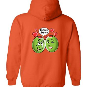 "Men's/Unisex Zip-Up Hoodie Funny Be My Valentine; ""Olive You!"""