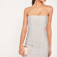 Missguided - Grey Premium Bandeau Bodycon Dress
