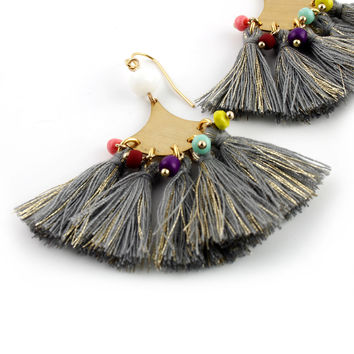Boho Tassel Earrings - Gray Rainbow