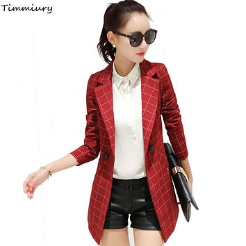 Timmiury 2017 Spring Women Plaid Blazers And Jackets Single Button Female Office Jacket Black/Red/Gray Slim Fit Ladies Blazer