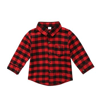 New Design Cotton Boy Kid T-shirt CAN'T TOUCH THIS Shirt For Kids Boys Casual Long Sleeve Plaid Shirt
