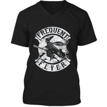 Frequent Flyer Funny Halloween Witch  Costume Gift Mens Printed V-Neck T