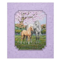Quarter Horse Mare and Foal Purple Fleece Blanket