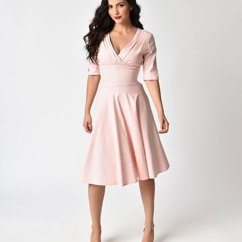 Unique Vintage 1950s Light Pink Delores Swing Dress with Sleeves