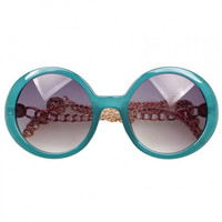 Blue Bead Fringe Chain Arms Round Sunglasses