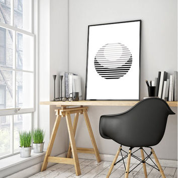 Printable Stripes Poster, Grey Scandinavian Print, Nordic Print, Minimal Poster, Modern Poster, Geometric Art Circle Print, Instant Download