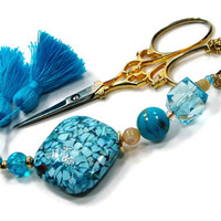 Scissor Fob, Aqua, Blue, Quilting, Sewing, Cross Stitch, Beaded, Gift for Crafter, DIY Crafts