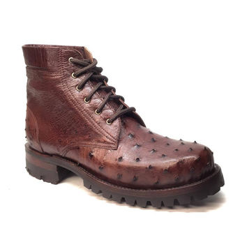 Safari Chocolate Ostrich Quill Combat Ankle Boots