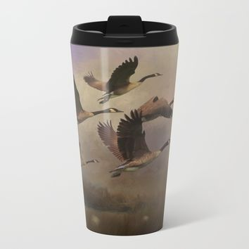 Wild Geese at Dawn Metal Travel Mug by Theresa Campbell D'August Art