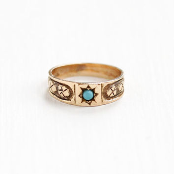 Antique Victorian 10k Rose Gold Turquoise Child's Ring - Vintage Late 1800s Size 1/3 Baby Midi Charm Fine Blue Gem Jewelry