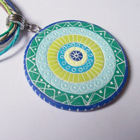 Hemp and Polymer Clay Necklace, Bohemian Jewelry, blue and green pendant