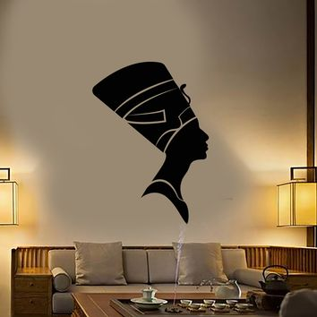 Vinyl Wall Decal Nefertiti Egyptian Queen Woman Style Egypt Stickers (2473ig)