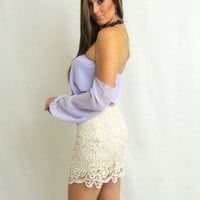 Winter White Lace Skirt - Ivory -  $35.50 | Daily Chic Bottoms | International Shipping