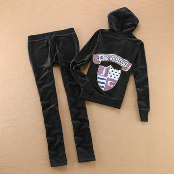 Juicy Couture Logo Sequins Velour Tracksuit 6132 2pcs Women Suits Dark Grey