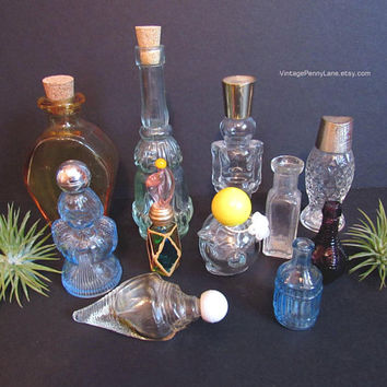 Vintage Glass Bottle Lot, Mini Miniature Glass Bottles, Avon Perfume Bottles