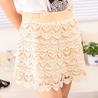 Spring cute lace Pattern Mini Skirt Multiple Colors