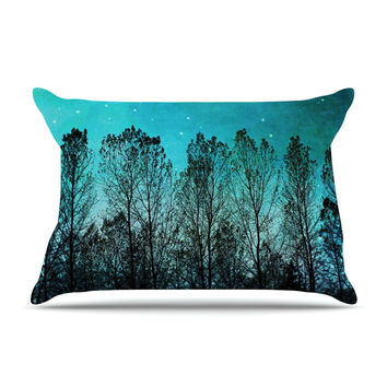 "Sylvia Cook ""Dark Forest"" Blue Trees Pillow Case"